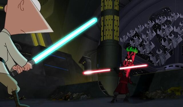 File:Darth Ferb with a two bladed lightsaber.JPG