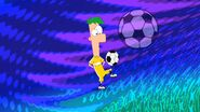 Ferb bounces a soccer ball
