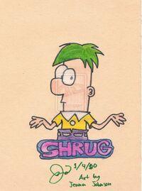 Ferb shrugs... Random Doodle, by Agufanatic98