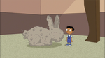 Baljeet next to a dust bunny