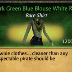 Dark Green Blue Blouse White Ruff