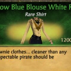 Yellow Blue Blouse White Ruff