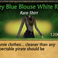 Grey Blue Blouse White Ruff