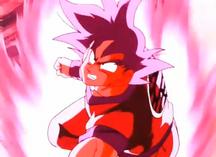 Son Gokū stosuje Kaiō-ken w pierwszym starciu z Vegetą.png