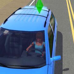Simka prowadząca samochód