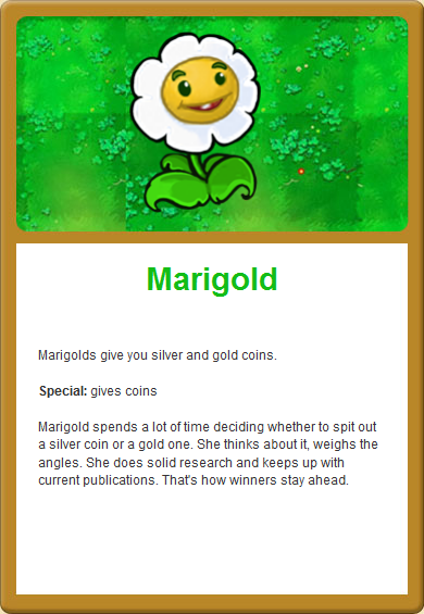 Marigold Plants Vs Zombies