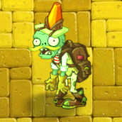 Conehead Adventurer Zombie (Carrying Plant Food)