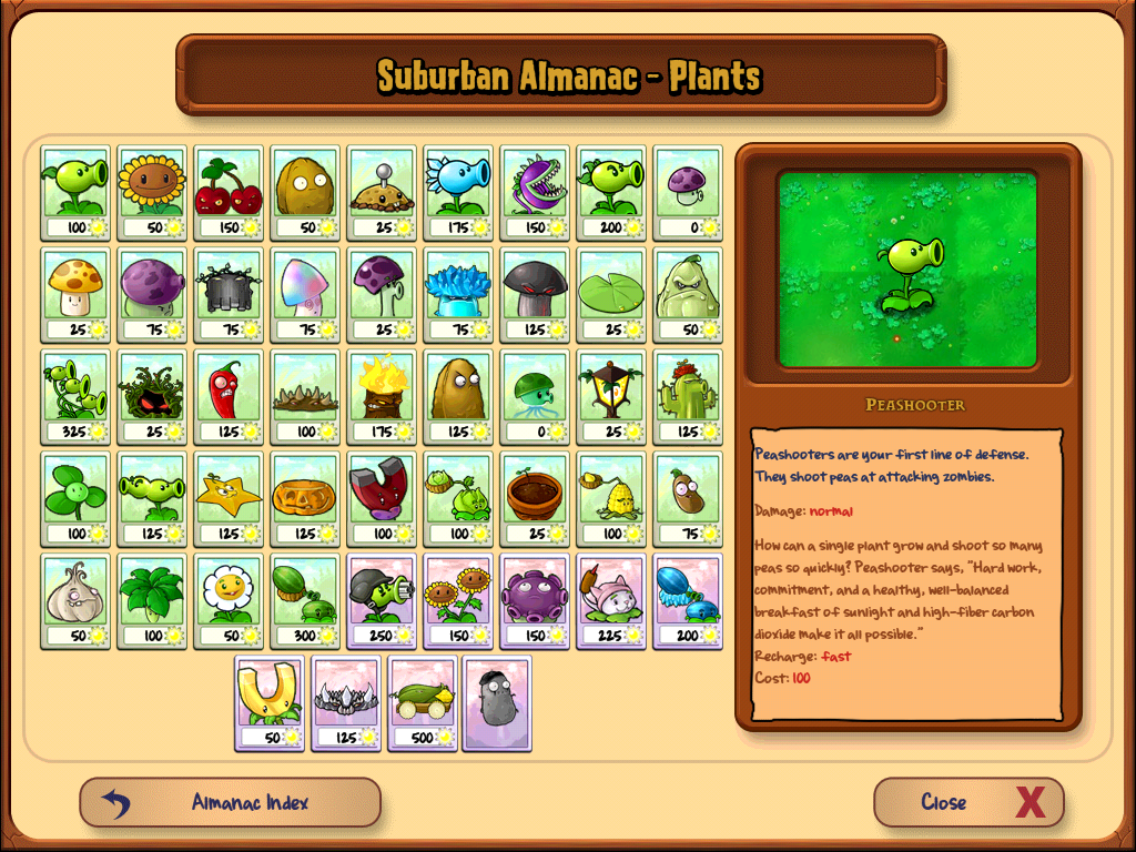 Image result for plants vs zombies almanac