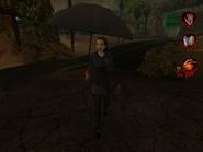 Woman in raincoat with umbrella 004