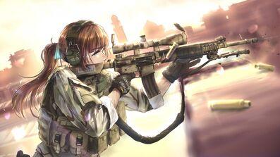 Girl bullets soldiers anime headphones equipment 105960 1920x1080