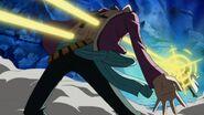 Marco getting pierced by Kizaru's powers