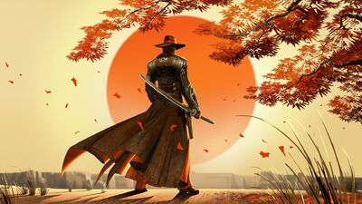 Video games samurai western red steel swords cowboy hats wallpaper