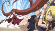 Flare (Fairy Tail) using her prehensile hair to attack her opponent