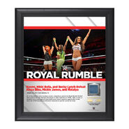 Nikki Bella, Becky Lynch, Naomi Royal Rumble 2017 15 x 17 Framed Plaque w Ring Canvas
