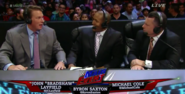 Michael Cole, JBL and Byron Saxton before they're appeared on June 8, 2015 episode of Raw
