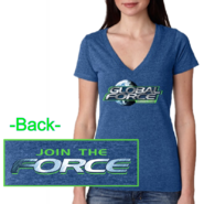 Global Force Wrestling Ladies Vintage Royal Deep V Neck Tee- Silver FOIL imprint