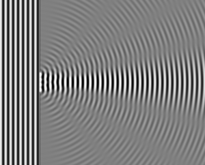 Wave Diffraction 4Lambda Slit
