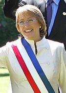 Michelle Bachelet with sash