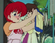 Ranma blushes at sight of underwear
