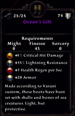 Ocean's Gift Inventory