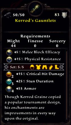 Kerrod's Gauntlets Inventory