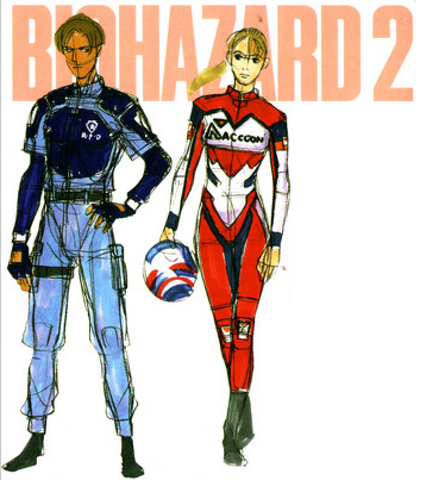 File:BIOHAZARD 1.5 concept artwork - Leon S Kennedy and Elza Walker CFC Style Fan-Book Vol 2 sketches.png