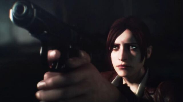 File:Resident Evil Revelations 2 screenshot - Claire Redfield aims at Neil Fisher.JPG