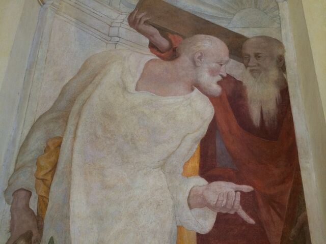 File:S. Andrea del Vignola - Fresco of Andrew and Peter - upper portion.jpg