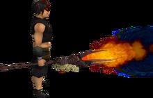 Skeletal battlestaff of fire equipped