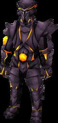 Een speler die het obsidian equipment draagt.