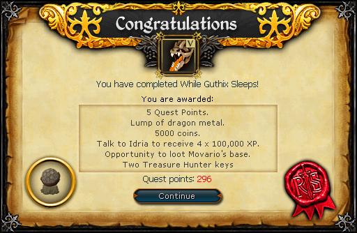 While Guthix Sleeps reward