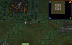Scan clue Brimhaven Dungeon lower level in iron and steel dragon chamber south of south-eastern lava pool