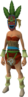 Witchdoctor camouflage gear set (female) equipped