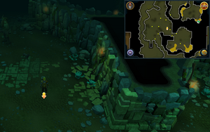 Scan clue Brimhaven Dungeon lower level in west chamber with staircase to upper level