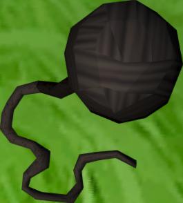 Ball of black wool detail