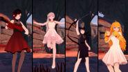 RWBY GE DLC screenshot of Team RWBY Beacon Dance Costume