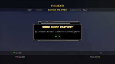 Audio Player - Xbox Guide Playlist error