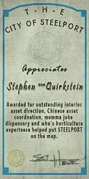 Credits - Mayor Certificate - Stephen Quickstein