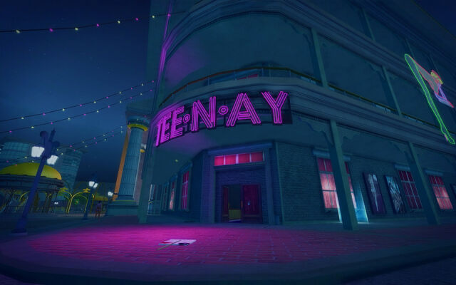 File:Tee'N'Ay in Saints Row 2 - exterior entrance at night.jpg