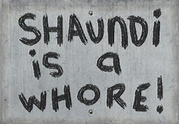 Civilian protest sign - Shaundi is a whore