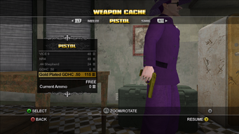Gold Plated GDHC .50 Pistol in the Weapons Cache in Saints Row