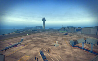 Wardill Airport in Saints Row 2 - parked airplanes