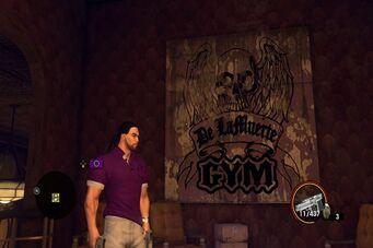 Angel's Gym - De LaMuerte Gym sign