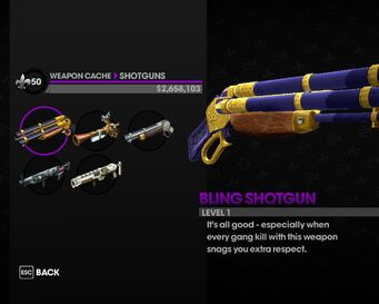 Bling Shotgun in the weapon cache