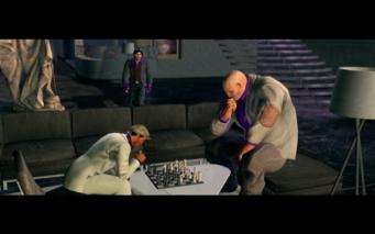 Pierce and Oleg playing chess