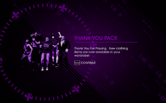 Saints Row IV Thank You Pack unlock screen