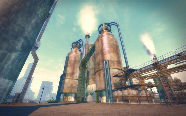File:Pilsen in Saints Row 2 - refinery towers.jpg
