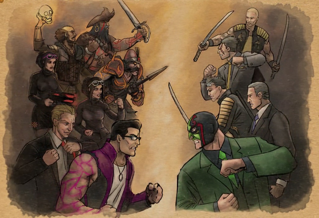 File:Gat out of Hell cutscene - Killbane, Sharp, Shogo, Kazuo, Jyunichi.png