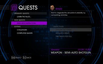 Quests Menu - Simulated Instruction