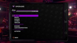 Upgrades menu in Saints Row The Third